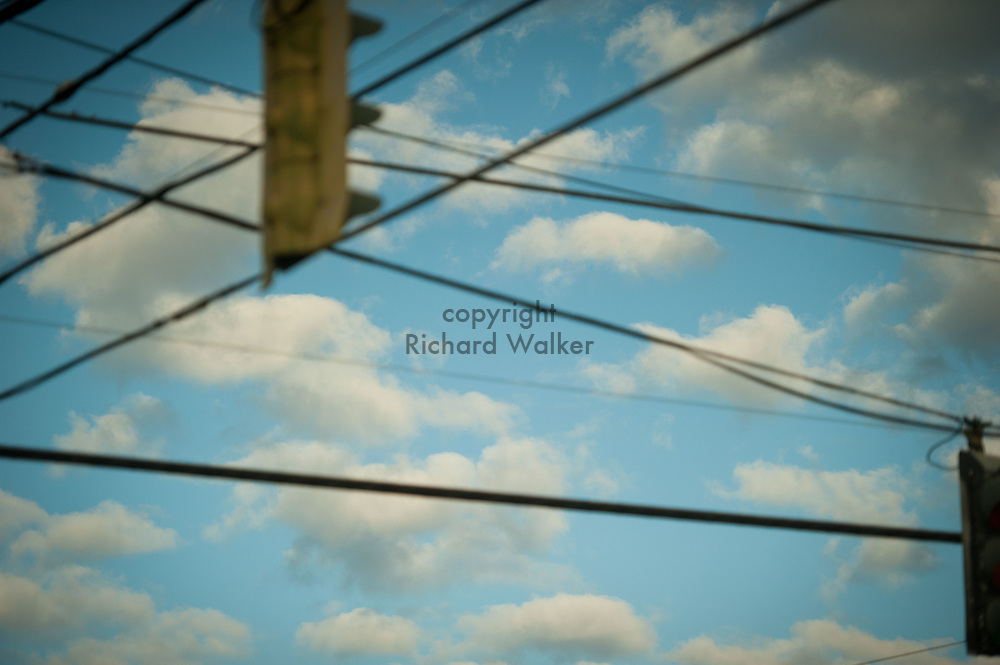 2016 October 11 - Blue sky, clouds, wires, and traffic signals, Seattle, WA, USA. By Richard Walker