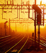 Railway Junction showing Points and Signals on a Misty Morning