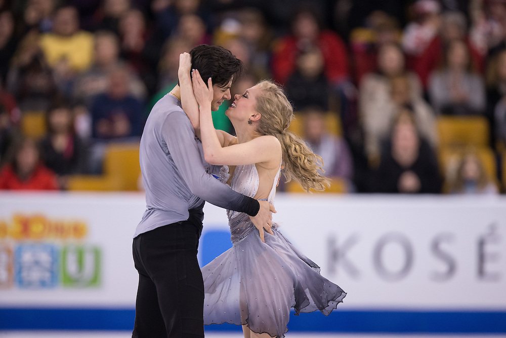 Kaitlyn Weaver and Andrew Poje of Canada perform their free dance in the Ice Dance competition at the ISU World Figure Skating Championships at TD Garden in Boston, Massachusetts, March 31, 2016.