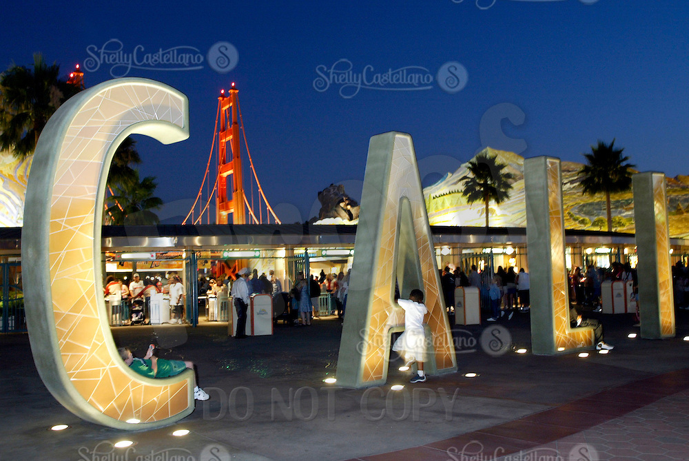 Jul 01, 2003; Anaheim, California, USA; Entrance to the Disney's California Adventure Theme Park at night in Southern Califorina. New Themepark for kids and adults.