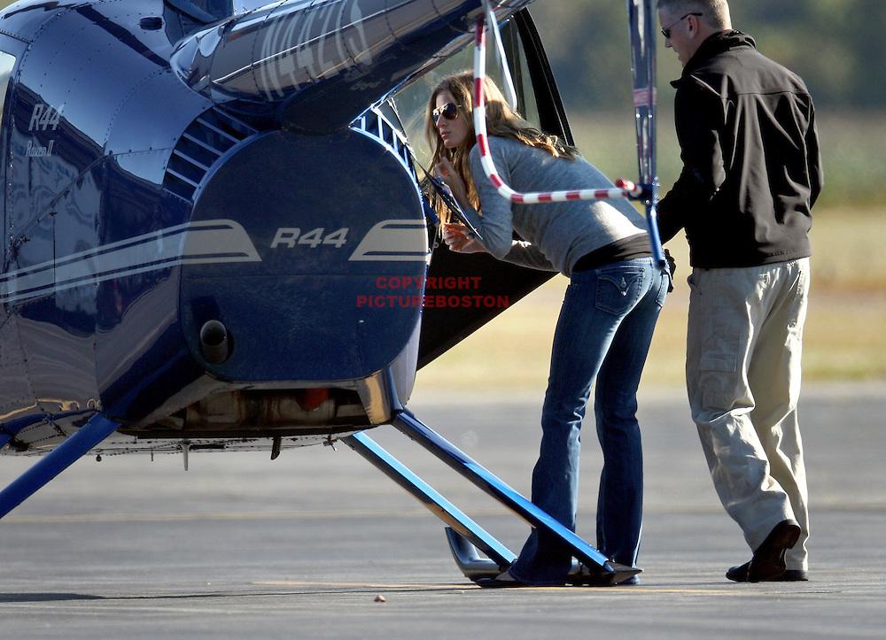 Gisele Bundchen takes helicopter lessons in Massachusetts. photo by Mark Garfinkel