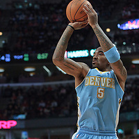 08 November 2010: Denver Nuggets' shooting guard #5 J.R. Smith takes a jumpshot during the Chicago Bulls 94-92 victory over the Denver Nuggets at the United Center, in Chicago, Illinois, USA.
