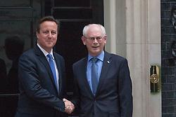 London, June 23rd 2014. Prime Minister David Cameron welcomes EU President Herman Van Rompuy to Downing street.