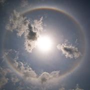 Nov. 25, 2003. A circular rainbow over th M.V. Arctic Sunrise on the Jaurucu River in Brazil.