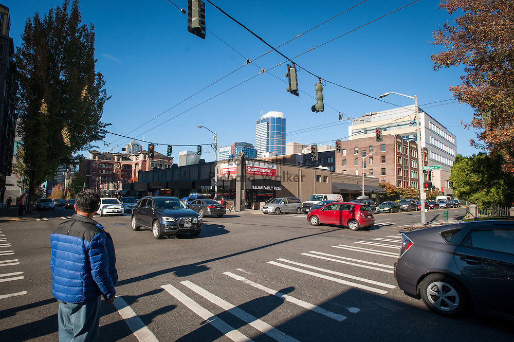 2016 October 11 - Pedestrian on corner of Boren and Madison, First Hill, Seattle, WA, USA. By Richard Walker