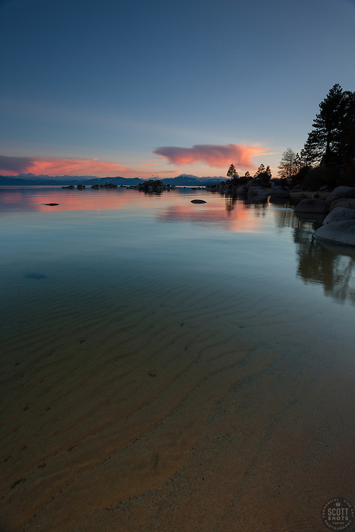 """""""Sunset at Lake Tahoe 23""""- This sunset and ripples in the lakeshore's sandy bottom were photographed at Speedboat Beach, Lake Tahoe."""
