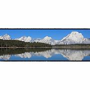 Grand Tetons - North Jackson Lake, WY - Panoramic - Custom Border
