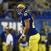 Delaware Kicker FRANK RAGGO (25) attempts a extra point during a week one game between the Delaware Blue Hens and the Delaware State Hornets, Thursday, Sept. 01, 2016 at Tubby Raymond Field at Delaware Stadium in Newark, DE.