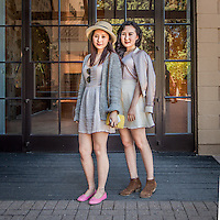 Sisters Ruby and Chang at the entrance of the Hess Collection, Napa, CA.  meimesw@yeah.net