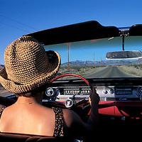Driving on Route 66, Near Oatman, 1962 Cadillac Convertible, Arizona, USA