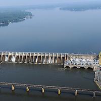Tillery Dam, Power Plant  and Lake on Pee Dee (Yadkin) River, NC