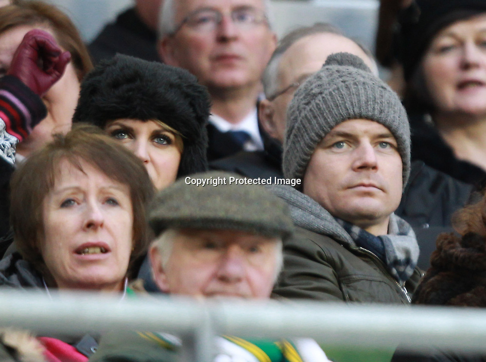RBS Six Nations Championship, Aviva Stadium, Dublin 5/2/2012<br /> Ireland vs Wales<br /> Ireland's injured captain Brian O'Driscoll watches the match with his wife Amy Huberman <br /> Mandatory Credit &copy;INPHO/Billy Stickland