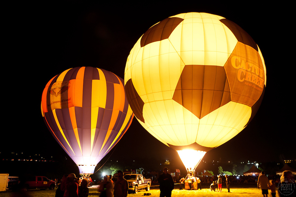 """The Glow Show 2"" - Photographs of hot air balloons lit up durning the Glow Show  at the 2011 Great Reno Balloon Race."