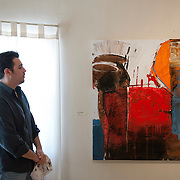 Francisco Postlewaite, painter, at his Galleria Dpto.4 in Mexicali, Mexico...© Stefan Falke.http://www.stefanfalke.com/..