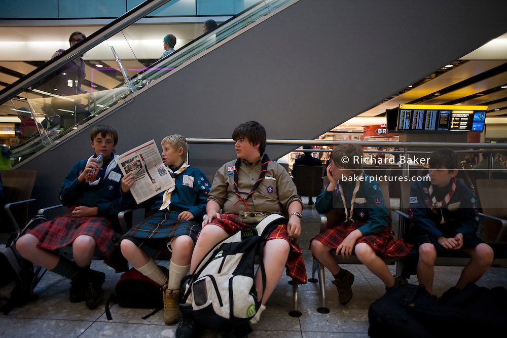 England London Scouts Wearing Kilts In Departures At