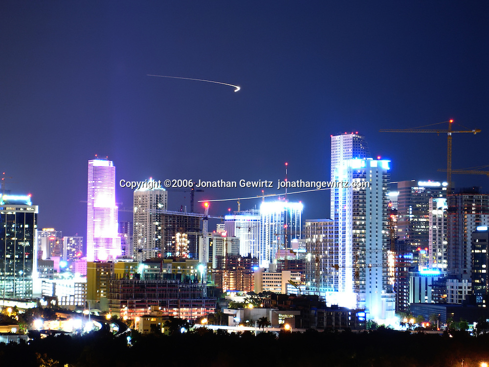 Night view of commercial and residential buildings and building construction in downtown Miami during the tail end of the real estate boom, October 2006. WATERMARKS WILL NOT APPEAR ON PRINTS OR LICENSED IMAGES.