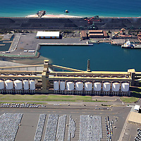 Aerial photo, Port Kembla, NSW, grain loader