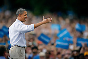 BOULDER, CO - SEPTEMBER 2: President Barack Obama waves to the crowd after speaking at a Grassroots Rally Sunday, September 2 on the University of Colorado campus in Boulder, Colorado. Obama discussed his plan to help the middle class, Obamacare's impact and the importance of the youth of America getting out to vote in the upcoming election. (Photo by Marc Piscotty/ ©2012)