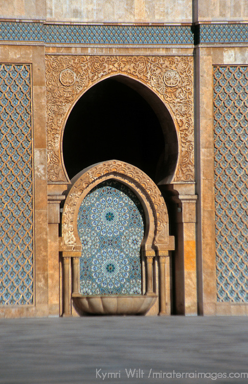 North Africa, Morocco, Casablanca. Hassan II Mosque fountain.