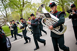 © Licensed to London News Pictures. 21/04/2017. London, UK. The Band of The Brigade of Gurkhas perform. The King's Troop Royal Horse Artillery fire a 41-round gun salute in Hyde Park, to celebrate the 91st Birthday of Queen Elizabeth II. Photo credit : Tom Nicholson/LNP