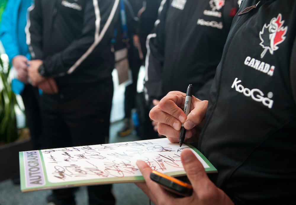 Players from the Canada  etam sign autographs at Hawkes Bay airport, Napier, New Zealand, Thursday, September 15, 2011 Credit: SNPA / John Cowpland