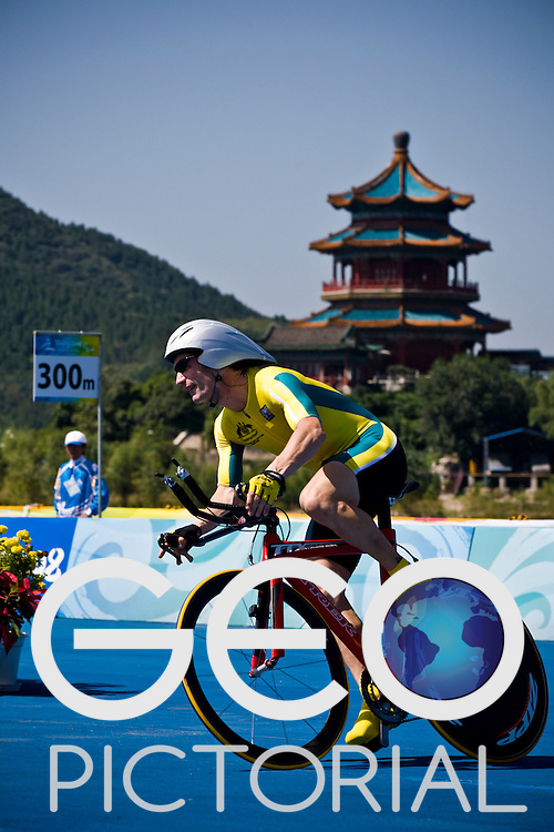 BEIJING, SEPTEMBER 12: Christopher Scott of Australia in the Men's Road Cycling Road Race (CP 4) at the Triathlon Venue during day six of the 2008 Paralympic Games on September 12, 2008 in Beijing, China.