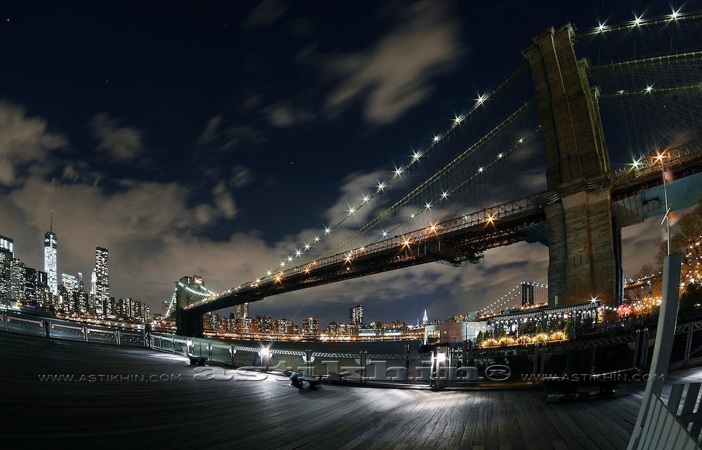 Under the bridge at night.