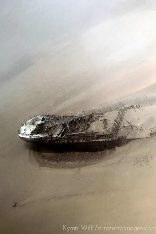 Africa, Namibia, Conception Bay. Shipwreck in the sands of Namibia's rugged coast.