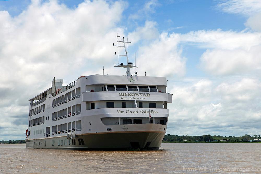 South America, Brazil. Amazon River. Iberostar Grand Amazon bow.