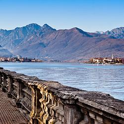 Beautiful italian lake front walk near Stresa, Lake Maggiore, Italy