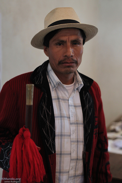 Concepción Santay Gómez, Indigenous Mayor of Cotzal within the Ancestral Authorities, relates the community's negative experiences with the nearby Palo Viejo hydroelectric project. The controversial Palo Viejo project, currently under construction by Israeli-owned Solel Boneh and operated by Italian utility giant ENEL, has sparked tensions and conflicts in the war-torn region since 2007. San Felipe Chenlá, San Juan Cotzal, Quiché, Guatemala. August 2012.