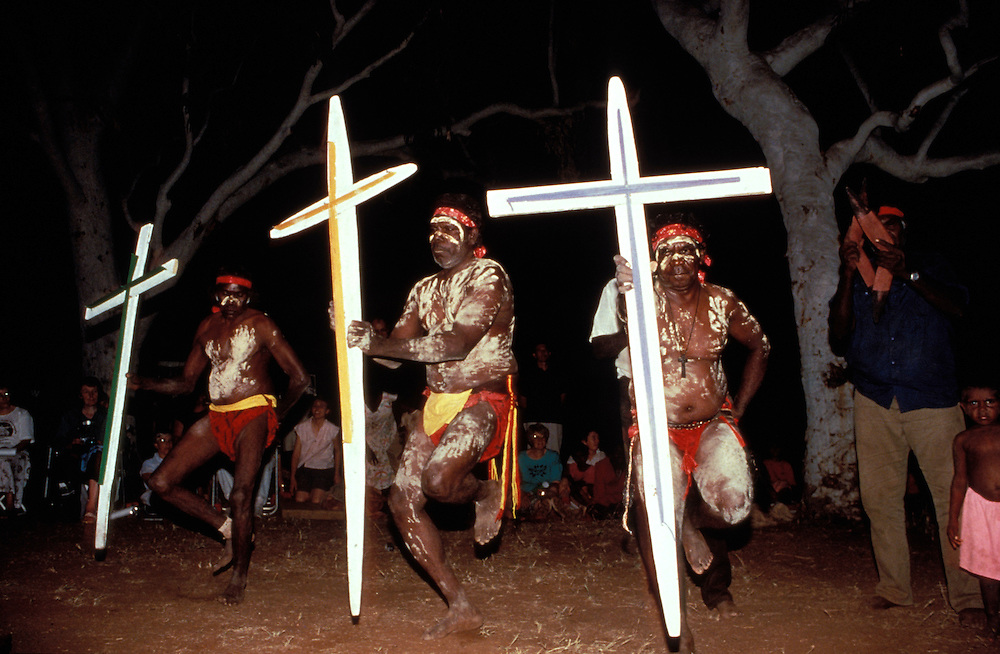 Aboriginal corroboree put on to celebrate Pentecost Festival at Violet Valley, The Kimberley, Western Australia