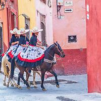 SAN MIGUEL DE ALLENDE , MEXICO - MAY 31 : Three charras in San Miguel de Allende , Mexico on May 31 2015. The historic city San Miguel de Allende is UNESCO World Heritage Site since 2008.