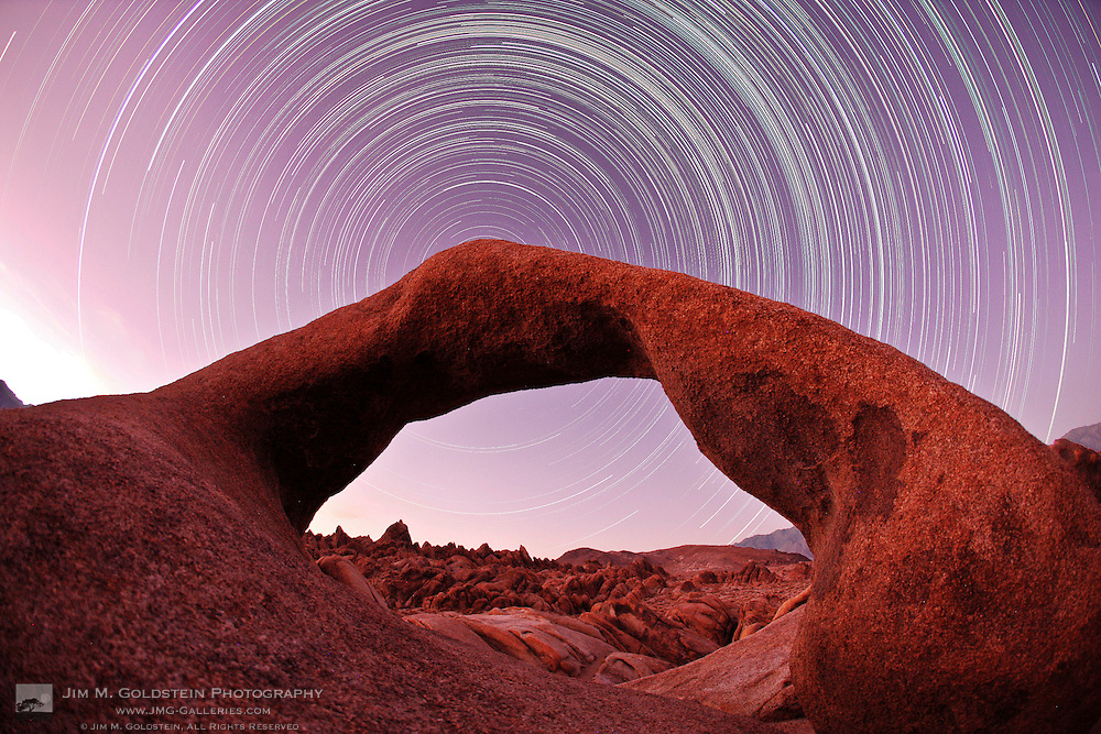 Star trails above Mobius Arch in the Alabama Hills of California.