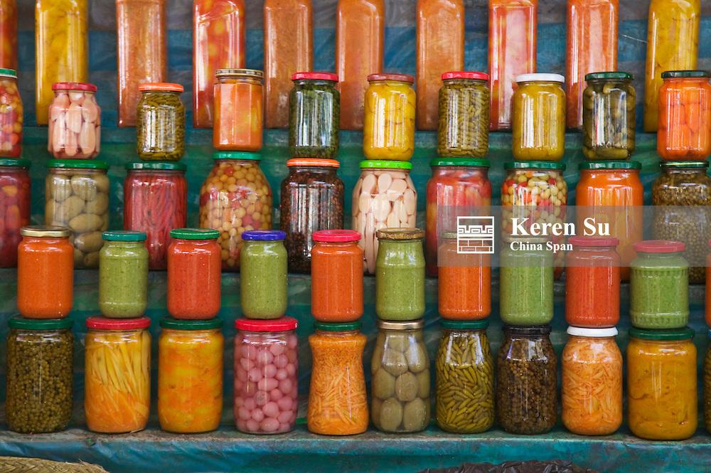 Local market selling pickles, Antananarivo, Madagascar