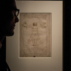 Foto Piero Cruciatti / LaPresse<br /> 14-04-2015 Milano, Italia<br /> Cultura<br /> Anteprima stampa della mostra &quot;Leonardo da Vinci 1452 - 1519&rdquo; a Palazzo Reale<br /> Nella Foto: un visitatore guarda 'Uomo Vitruviano'<br /> <br /> Photo Piero Cruciatti / LaPresse<br /> 14-04-2015 Milan, Italy<br /> Cultura<br /> Press preivew of the exhibition &quot;Leonardo da Vinci 1452 - 1519&rdquo; at Palazzo Reale <br /> In the Photo: a visitor looks up at 'Uomo Vitruviano'