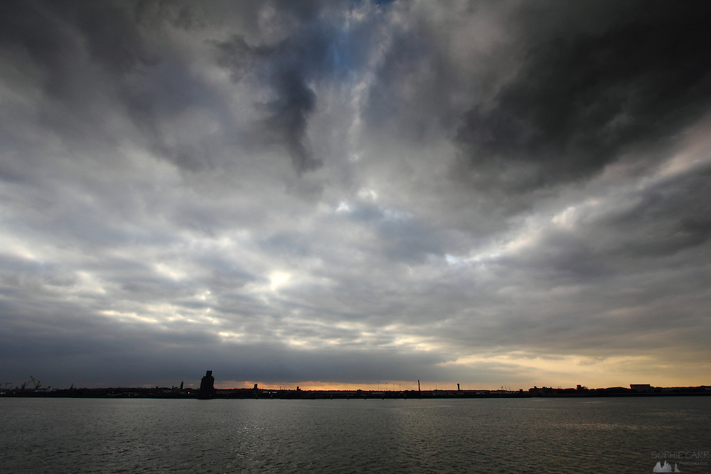 The view across the River Mersey, Liverpool, just before sunset in February.