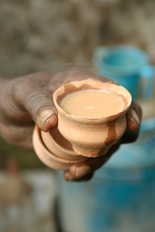 A cley cup, Kulhar, is used for Chai in Kolkata, India