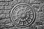 Manhole cover, Manhattan, New York City, NY,  cobblestones