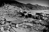 This formidable tsunami wall was not enough to halt the black wave that hit this village after the biggest earthquake in Japan's recorded history, Toni, Iwate Prefecture, Japan.  The tsunami was 25m (82 ft.) high, though residents here claim that it was 30 m (almost 100 ft) high.  Houses high on the hill (in the top left) were damaged up to the second floor.