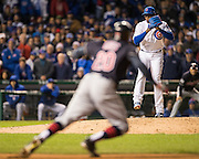 CHICAGO, IL - OCTOBER 30, 2016: Rajai Davis #20 of the Cleveland Indians steals second as Aroldis Chapman #54 of the Chicago Cubs pitches during Game 5 of the 2016 World Series between the Cleveland Indians and the Chicago Cubs at Wrigley Field on October 30, 2016 in Chicago, Illinois. (Photo by Jean Fruth)