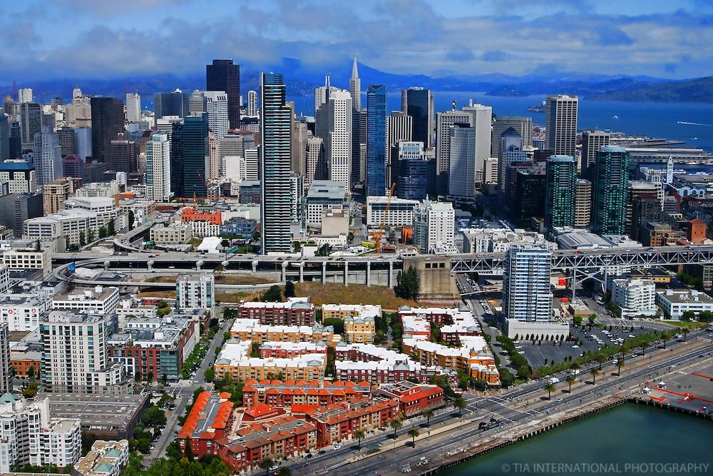 San Francisco Skyline & Bay Bridge Ramp (Aerial)