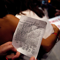 ORLANDO, FL -- September 22, 2011 -- The signature of Republican presidential candidate Congresswoman Michele Bachmann is seen during the Florida P5 Faith and Freedom Coalition Kick-Off at the Rosen Centre Hotel in Orlando, Fla., on Thursday, September 22, 2011.  Nine Republican presidential candidates congregated for a Fox News / Google Debate.   (Chip Litherland for The New York Times)