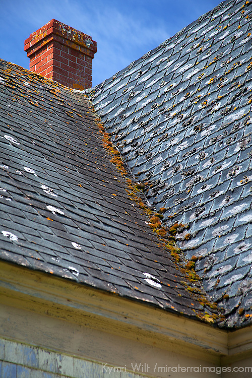 North America, Canda, Nova Scotia, Guysborough County. Slate roof and chimney of weathered home of Nova Scotia.