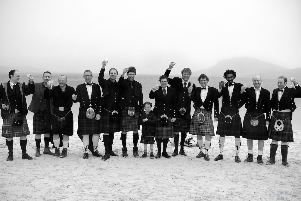 All the men in kilts at Jan & Carrie's wedding on Vatersay Beach
