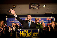 Republican presidential hopeful and former Arkansas governor Mike Huckabee speaks at his New Hampshire primary night party in Manchester, N.H., on Tuesday, Jan. 8, 2008.