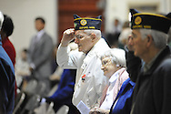 Veteran Gene Eber attends a Veterans Day program at the Patricia C. Lamar Readiness Center in Oxford, Miss. on Monday, November 12, 2012.