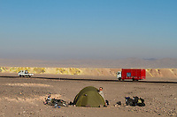 Camping on the other side of Panamerican Highway from a huge copper mine, atacama, Chile