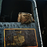 Cabin detail of retired steam locomotive at Steamtown, USA, National Park.