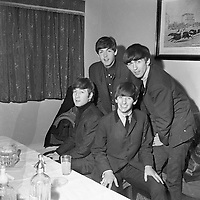 The Beatles pictured together before their performances in the Adelphi Theatre in Dublin, 1963.<br /> (Part of the Independent Newspapers Ireland/NLI collection.)